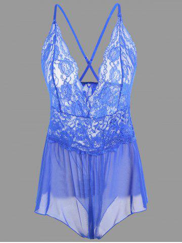 New Plunge Lace Criss Cross Teddy - M BLUE Mobile