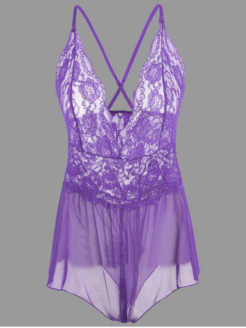 Buy Plunge Lace Criss Cross Teddy - XL PURPLE Mobile