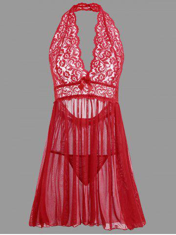 Discount Plunge Lace Backless Sheer Babydoll RED M