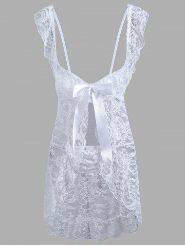 Cheap Lace Low Cut Ruffles Babydoll WHITE L