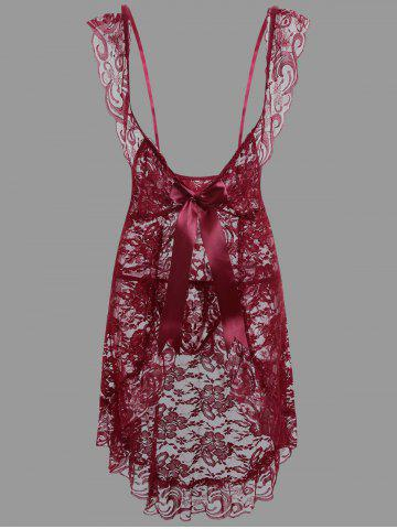 Discount Lace Low Cut Ruffles Babydoll - L PURPLISH RED C5 Mobile