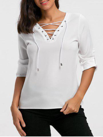 Shops Long Sleeve V Neck Lace Up Blouse - L WHITE Mobile