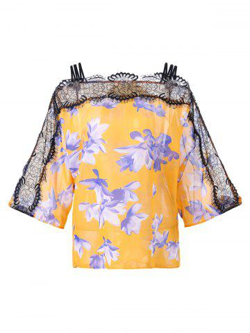 Affordable Lace Panel Floral Cold Shoulder Blouse - 2XL YOLK YELLOW Mobile
