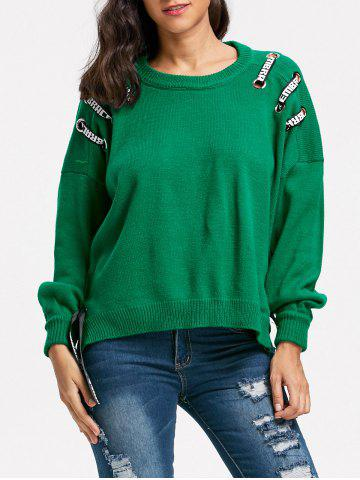 Outfit Slit Lace Up Drop Shoulder Sweater GREEN ONE SIZE