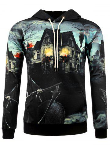 Shops 3D Death Haunted House Halloween Hoodie COLORMIX M