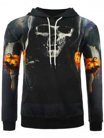 Unique 3D Skull Death Print Halloween Hoodie COLORMIX M