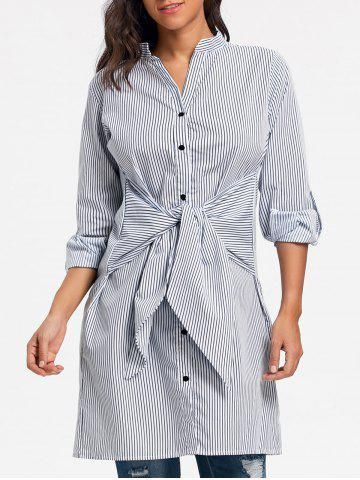 Best Striped V Neck Tie Up Shirt Dress