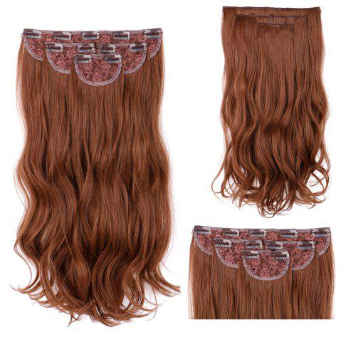 Affordable 4Pcs/Lot Long Wavy Synthetic Clip In Hair Extensions - LIGHT BROWN  Mobile