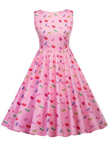 New Vintage Macarons Print Pin Up Dress PINK S