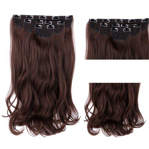 Store 4Pcs/Lot Long Wavy Synthetic Clip In Hair Extensions - BROWN  Mobile