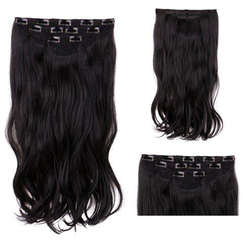 Online 4Pcs/Lot Long Wavy Synthetic Clip In Hair Extensions - BLACK  Mobile
