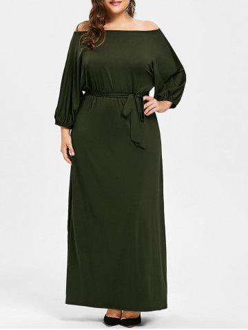 Best Plus Size Belted Off The Shoulder Maxi Dress - 2XL ARMY GREEN Mobile