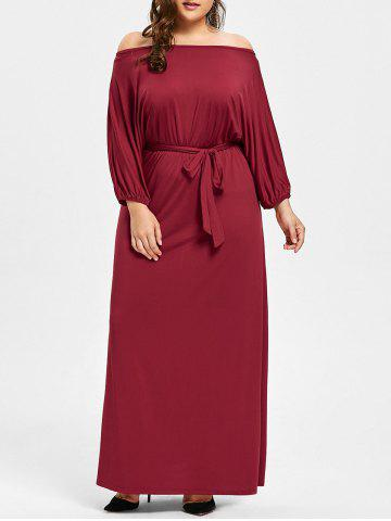 Buy Plus Size Belted Off The Shoulder Maxi Dress - 4XL WINE RED Mobile