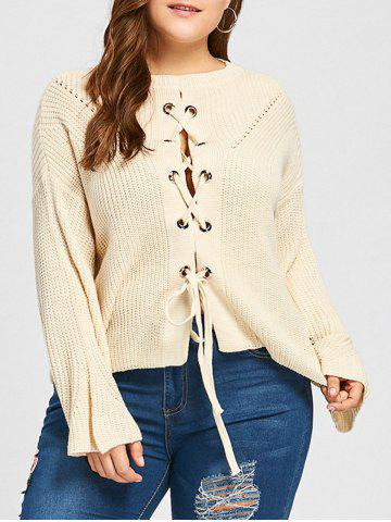 Trendy Plus Size Drop Shoulder Lace Up Chunky Sweater - ONE SIZE OFF-WHITE Mobile
