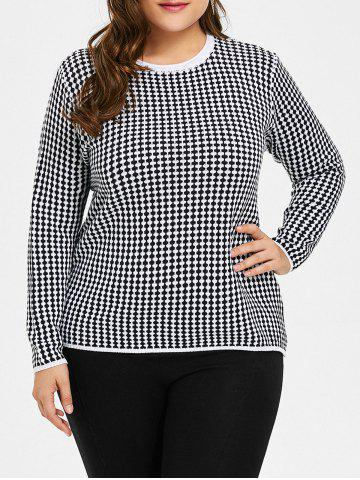 Best Plus Size Checked Graphic Knitwear - 4XL BLACK Mobile