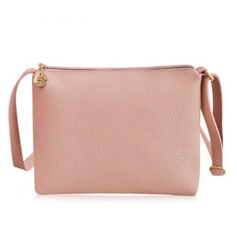 Discount PU Leather Zip Crossbody Bag - PINK  Mobile