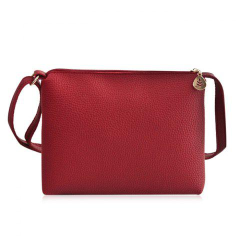 Hot PU Leather Zip Crossbody Bag - RED  Mobile