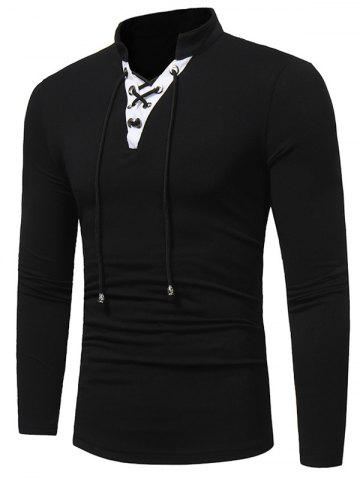Latest Long Sleeve Color Block Lace Up T-shirt BLACK M