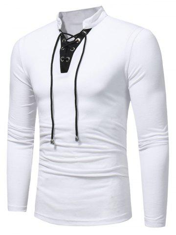 Outfits Long Sleeve Color Block Lace Up T-shirt - 3XL WHITE Mobile