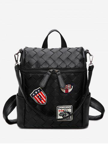 Affordable Badge Braided Faux Leather Backpack BLACK