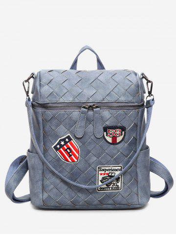 Store Badge Braided Faux Leather Backpack BLUE