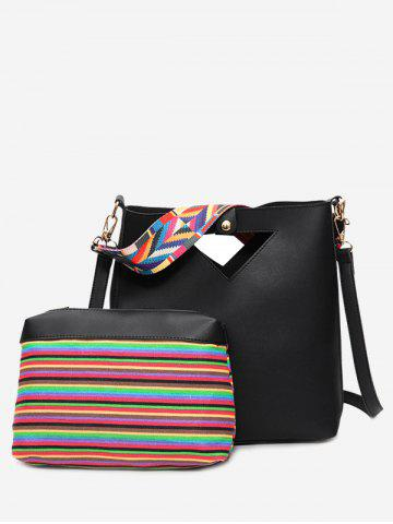 Fashion Striped Hollow Out Rainbow Crossbody Bag Set - BLACK  Mobile