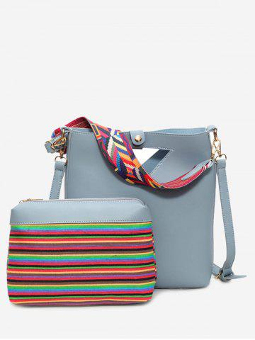 Fancy Striped Hollow Out Rainbow Crossbody Bag Set