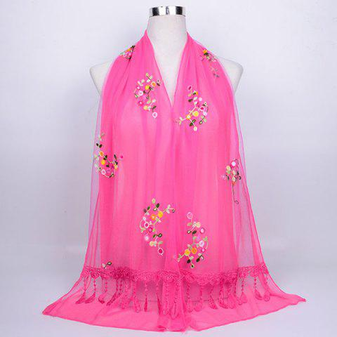 Hot Flower Vine Woolen Yarn Panel Lace Tassel Scarf TUTTI FRUTTI