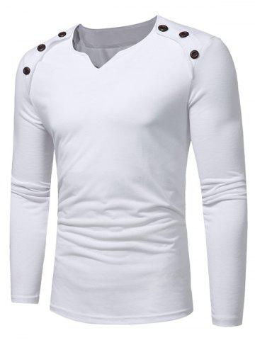 Outfit Buttons Embellished V Neck T-shirt - M WHITE Mobile