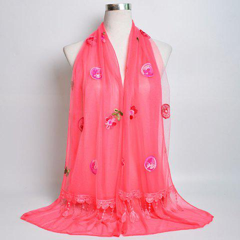 Shop Flower Embroidery Tassel Lace Panel Shawl Scarf