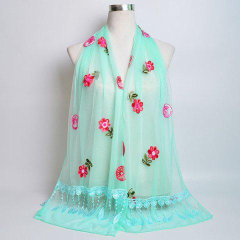 Shops Flower Embroidery Tassel Lace Panel Shawl Scarf