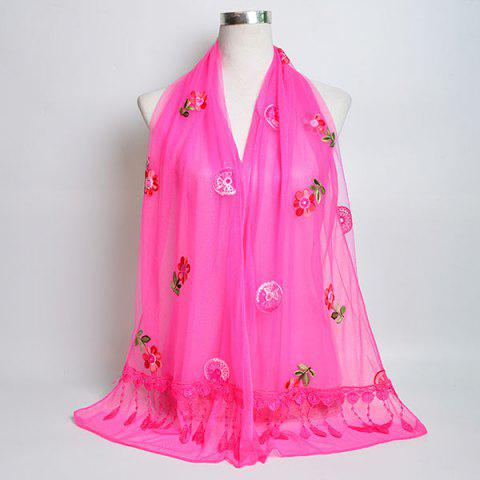 Store Flower Embroidery Tassel Lace Panel Shawl Scarf