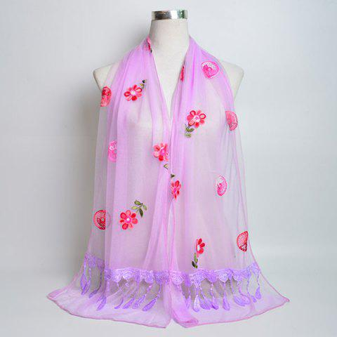 Fancy Flower Embroidery Tassel Lace Panel Shawl Scarf - SUEDE ROSE  Mobile