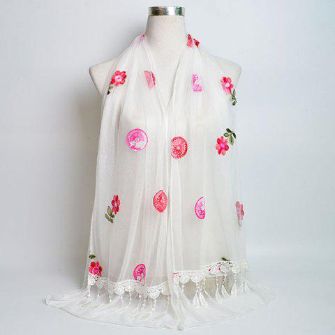 Discount Flower Embroidery Tassel Lace Panel Shawl Scarf