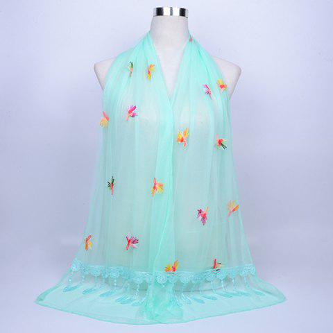 Trendy Dandelion Embroidery Lace Tassel Shawl Scarf - BREEZY  Mobile