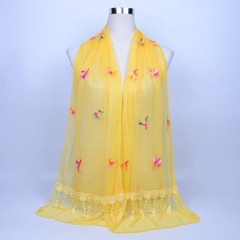 Shop Dandelion Embroidery Lace Tassel Shawl Scarf LIGHT YELLOW