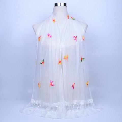 Discount Dandelion Embroidery Lace Tassel Shawl Scarf WHITE