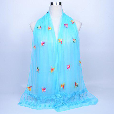 Store Dandelion Embroidery Lace Tassel Shawl Scarf AZURE