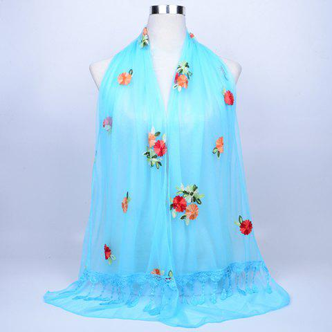 Fashion Lace Fringe Floral Embrodiery Shawl Scarf - AZURE  Mobile
