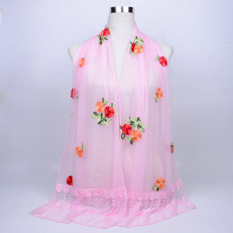 Latest Lace Fringe Floral Embrodiery Shawl Scarf - PAPAYA  Mobile