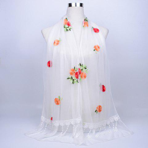 Fashion Lace Fringe Floral Embrodiery Shawl Scarf WHITE