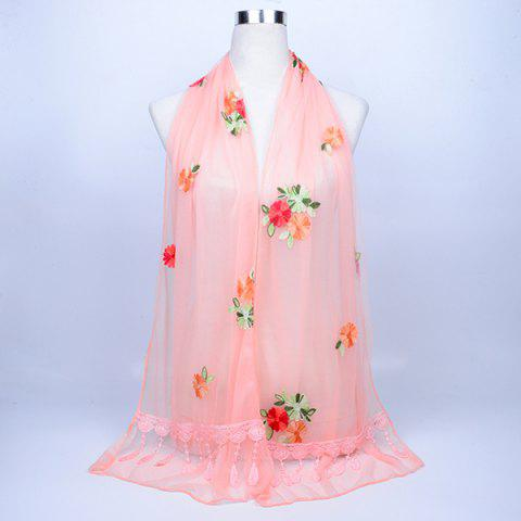 Buy Lace Fringe Floral Embrodiery Shawl Scarf - STRIPE PATTERN RED COLOR  Mobile