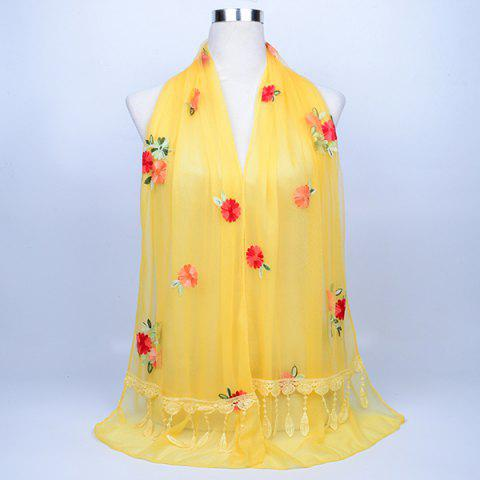 New Lace Fringe Floral Embrodiery Shawl Scarf - LIGHT YELLOW  Mobile