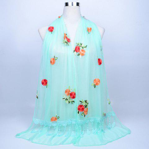 Fancy Lace Fringe Floral Embrodiery Shawl Scarf - BLUE GREEN  Mobile