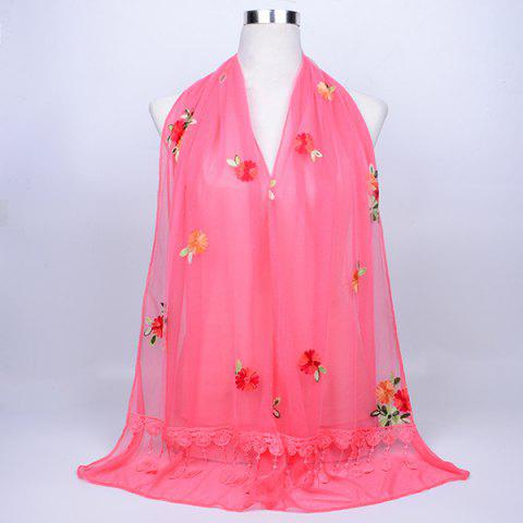 Outfit Lace Fringe Floral Embrodiery Shawl Scarf