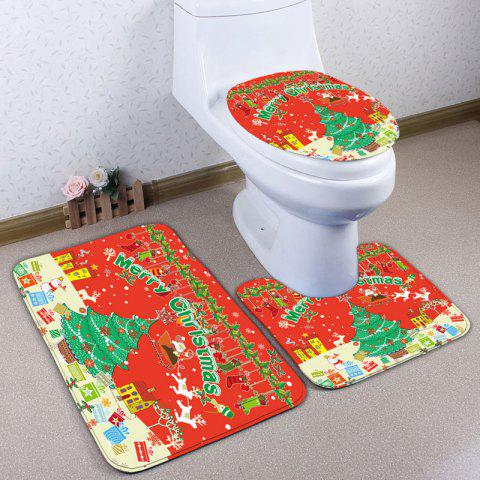 Affordable Christmas Printed 3Pcs Toilet Bath Rugs Set - RED  Mobile