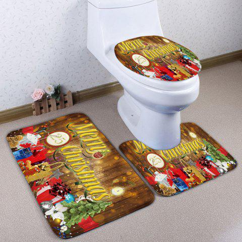 Fancy Christmas Tree Gift Print 3Pcs Bath Mats Set BROWN