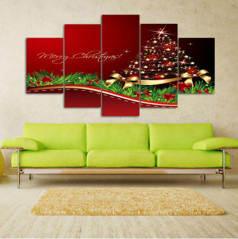 Hot Merry Christmas Tree Print Unframed Split Canvas Paintings RED 1PC:10*24,2PCS:10*16,2PCS:10*20 INCH( NO FRAME )