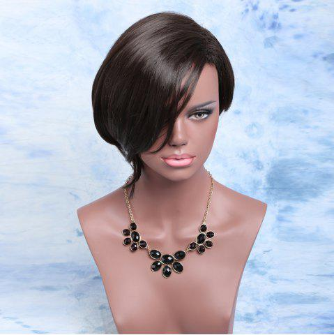 New Adiors Short Asymmetric Fluffy Side Parting Bob Synthetic Wig BLACK