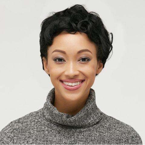 Trendy Ultrashort Pixie Cut Fluffy Curly Synthetic Wig BLACK